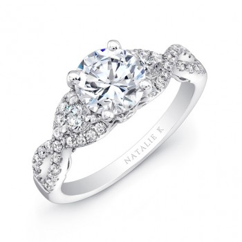 18k White Gold Split Shank White Diamond Engagement Ring