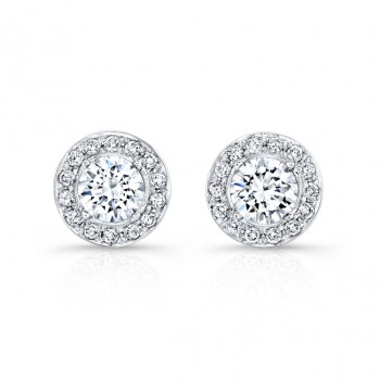 18k White Gold Prong Halo Diamond Stud Earrings NK27196-18W