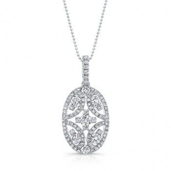 18K White Gold White Diamond Oval Shape White Diamond Pendant