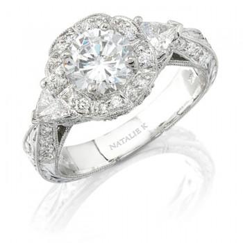 14k White Gold Vintage Diamond Semi Mount Engagement Ring with Trapezoid Sidestones NK5917-W