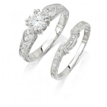 18k White Gold pear Shaped Diamond Bridal Set NK6950WE-W