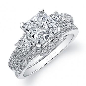 18k White Gold  Prong Set Three Stone Diamond Bridal Set