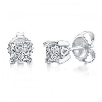 Princess Cut Diamond Stud Earrings 1 1/4ct
